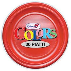 Plastica Piatti Piani Ros/Gial 30pz